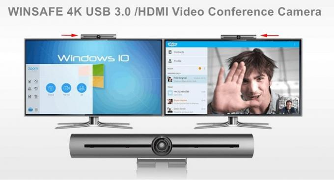 USB 3.0 / HDMI / LAN FOV83 ° Video Conference Camera 3X Zoom Lens With POE Support