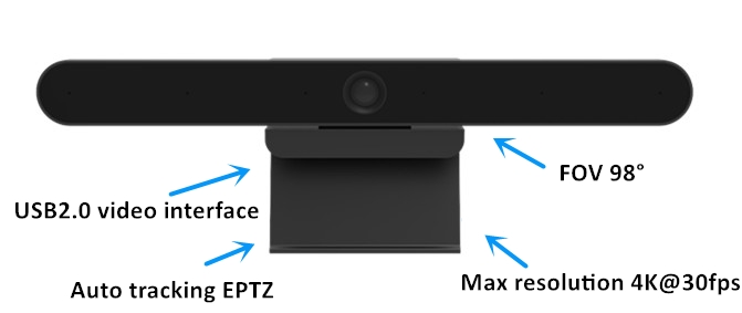 Video Tracking USB Video Conference Camera EPTZ 98 Degree FOV 2D/3D DNR Support BLC